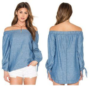 Free People | Show Some Shoulder Chambray Top XS